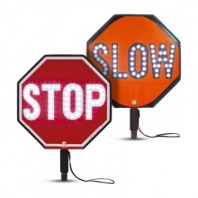 """Cortina LED 18"""" Stop/Slow Sign HIP Paddle w/Padded Handle"""