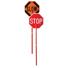 "24"" Stop/Slow Plastic Paddle w/81"" Plastic Handle"