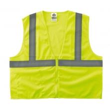 GloWear Class 2 Economy Vest w/Pocket, Zipper Closure, S/M, Lime