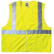 GloWear Class 2 Economy Vest w/Pocket, Zipper Closure, L/XL, Lime