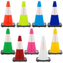 "18"" Traffic Safety Cone Black Base, 3lbs w/6"" Reflective Collar"
