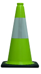 "18"" Lime Green Cone w/Black Base w/Reflective Collar 6"""