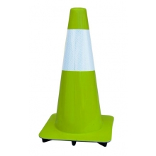 "18"" Lime-Green Traffic Cones w/6"" Reflective Collar, Made in USA"