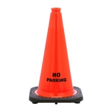 "No Parking 18"" Traffic Cone Black Base, 3 lbs"