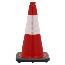 "18"" Red Traffic Cone Black Base, 3 lbs w/6"" Reflective Collar"