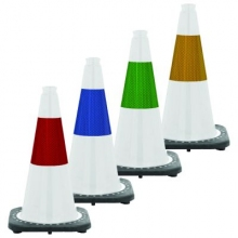 "18"" White Traffic Cone Black Base w/3M Reflective Collar"