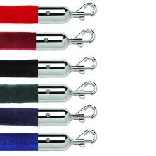 Velour Stanchion Rope Polished Stainless Slide Snap End