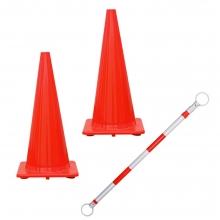 """Exclusive Safety Orange 28"""" Cones and Cone Bar Bundle"""