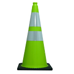 "28"" 7 LB Lime Green Cone w/Black Base w/2 Reflective Collars 4"" & 6"""