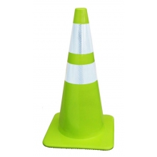 "Lakeside 28"" 7 lbs Lime-Green Traffic Cone w/4"" & 6"" Collars"