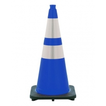 "28"" Navy Blue Traffic Cone Black Base, 7 lbs w/ 6"" & 4"" 3M Reflective Collar"