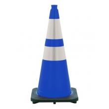 "28"" Navy Blue Traffic Cone Black Base, 7 lbs w/ 6"" & 4"" 3M Reflective Collar"