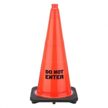 "Do Not Enter 28"" Traffic Cone Black Base, 7 lbs"