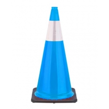 "28"" Sky Blue Traffic Cone Black Base, 7 lbs w/6"" Reflective Collar"