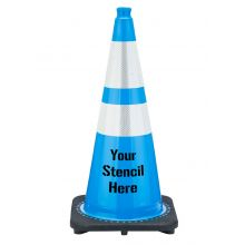 "Buy FREE STENCIL 28"" Sky Blue Traffic Cone Black Base, 7 lbs w/ 6"" & 4"" 3M Reflective Collar on sale online"