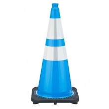 "28"" Sky Blue Traffic Cone Black Base, 7 lbs w/ 6"" & 4"" 3M Reflective Collar"