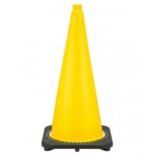 "28"" Yellow Traffic Cone Black Base, 7 lbs"