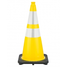 "Buy 28"" Yellow Traffic Cone Black Base, 7lbs w/ 6"" & 4"" Reflective Collar on sale online"