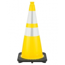 "28"" Yellow Traffic Cone Black Base, 7 lbs w/ 6"" & 4"" Reflective Collar"