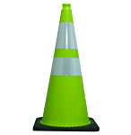 "36"" Lime Green Traffic Cone w/Black Base 10 Lbs  w/ 2 collars"