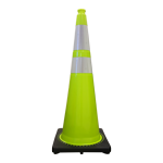 "Buy 36"" Lime Green Traffic Cone w/Black Base 10 Lbs  w/ 2 collars   on sale online"