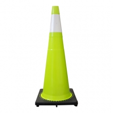 """Buy 36"""" Lime Green Traffic Cone Black Base, 10lbs w/6"""" 3M Reflective Collar on sale online"""