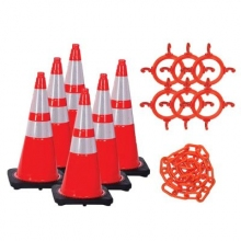 "28"" Traffic Cone w/Reflective Collars Chain Kit"