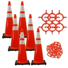 "36"" Traffic Cone w/Reflective Collars Chain Kit"