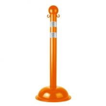 Buy Traffic Control Stanchion - Heavy Duty - Safety Orange with DOT Stripes on sale online