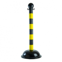 "Buy Stanchion - Heavy Duty - Black with Yellow stripes - 3"" pole on sale online"
