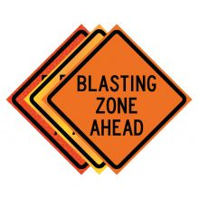 """Buy 36"""" x 36"""" Roll Up Traffic Sign - Blasting Zone Ahead on sale online"""