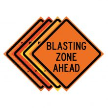 "Buy 36"" x 36"" Roll Up Traffic Sign - Blasting Zone Ahead on sale online"