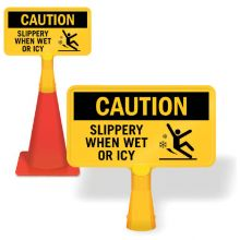 ConeBoss Sign: Caution - Slippery When Wet Or Icy