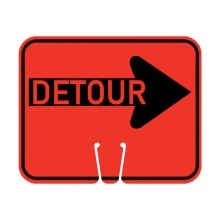 Traffic Cone Sign - DETOUR (Right)