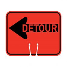 Traffic Cone Sign - DETOUR (Left)