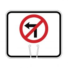 Traffic Cone Sign - NO LEFT TURN