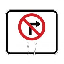 Traffic Cone Sign - NO RIGHT TURN Symbol