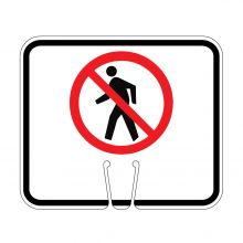 Traffic Cone Sign - NO PEDESTRIAN CROSSING Symbol