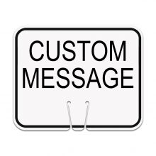 Traffic Cone Sign - CUSTOM MESSAGE (White)