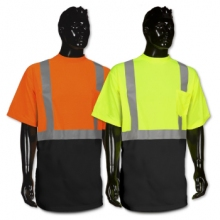 Black Bottom Hi Viz Short Sleeve T Shirt - Lime Or Orange