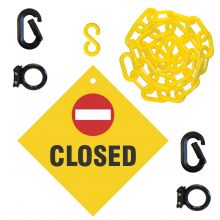 Buy Closed Sign & Magnet Ring Carabiner Kit w/Plastic Chain on sale online