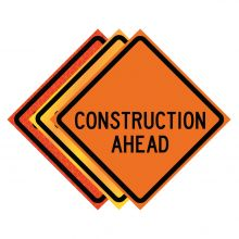"""Buy 36"""" x 36"""" Roll Up Traffic Sign - Construction Ahead on sale online"""