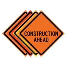 "36"" x 36"" Roll Up Traffic Sign - Construction Ahead"