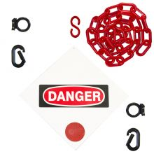 Buy Danger Sign & Magnet Ring Carabiner Kit w/Plastic Chain on sale online