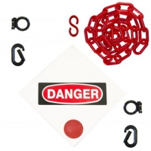 Danger Sign & Magnet Ring Carabiner Kit w/Plastic Chain