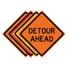 "36"" x 36"" Roll Up Traffic Sign - Detour Ahead"