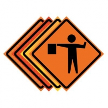 "36"" x 36"" Roll Up Traffic Sign - Flagger Symbol"