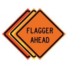 """Buy 36"""" x 36"""" Roll Up Traffic Sign - Flagger Ahead on sale online"""