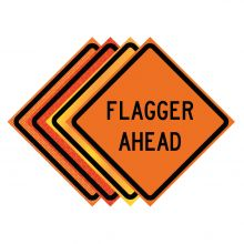 "Buy 36"" x 36"" Roll Up Traffic Sign - Flagger Ahead on sale online"