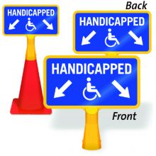 ConeBoss Sign Handicapped Parking w/Downward Diagonal Arrows